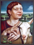 Portrait of a woman with a goat