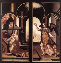 Drapers' altarpiece: outside doors with the Annunciation