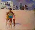 Mother and kids on beach