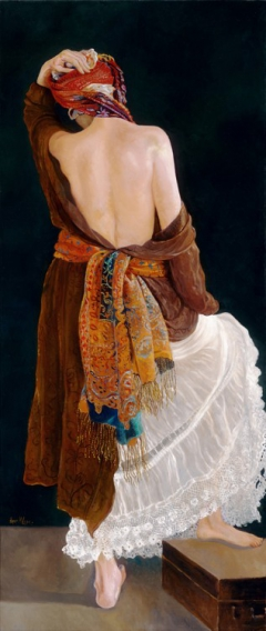 Woman with Colorful Scarf
