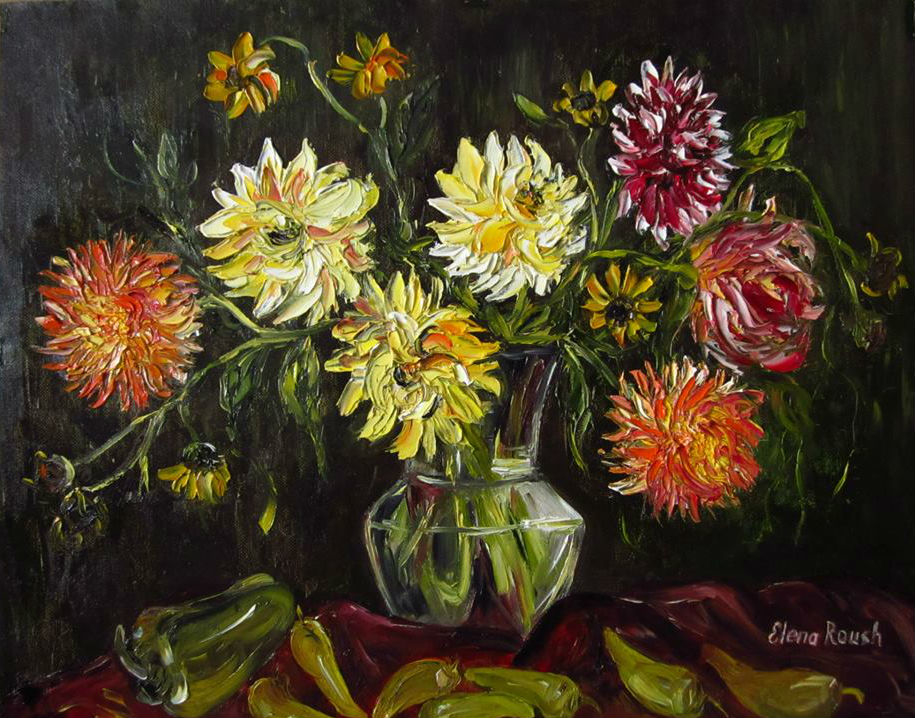 Dahlias and Peppers