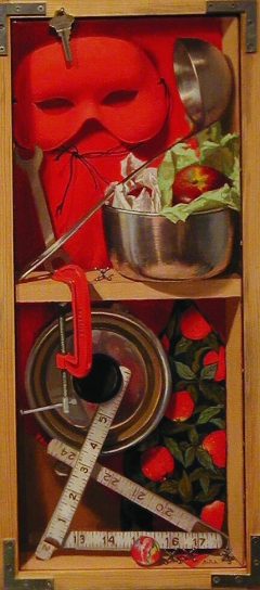 """Scarlet And Stainless Steel"" by Lydia Martin (24""x8"") oil on linen and wood"