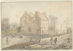 Landhuis met zaaier in het veld