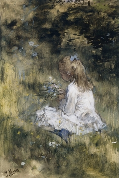 A Girl with Flowers on the Grass