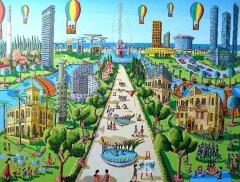 naive painting of tel aviv