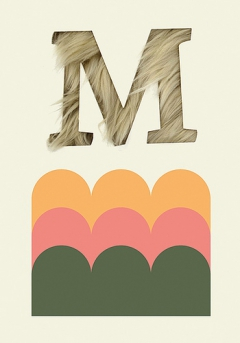 Letters, textures, shapes and colors. Letter M