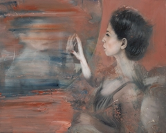 Woman at the mirror - oil on canvas - 60x75 cm.