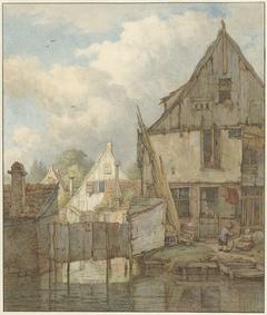 Vervallen huizen aan het water